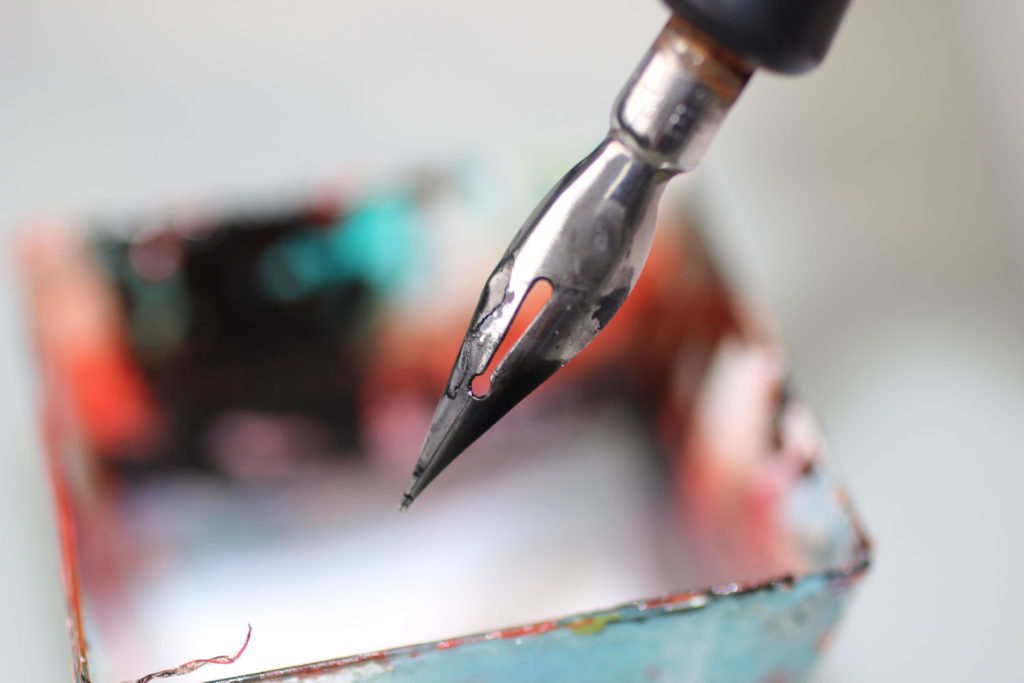 Favorite art supplies: Did you know that you can also use a dipping pen to apply masking fluid?