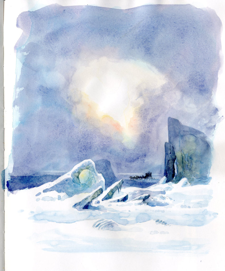 On the Pack Ice by David Bellamy, watercolor sketch