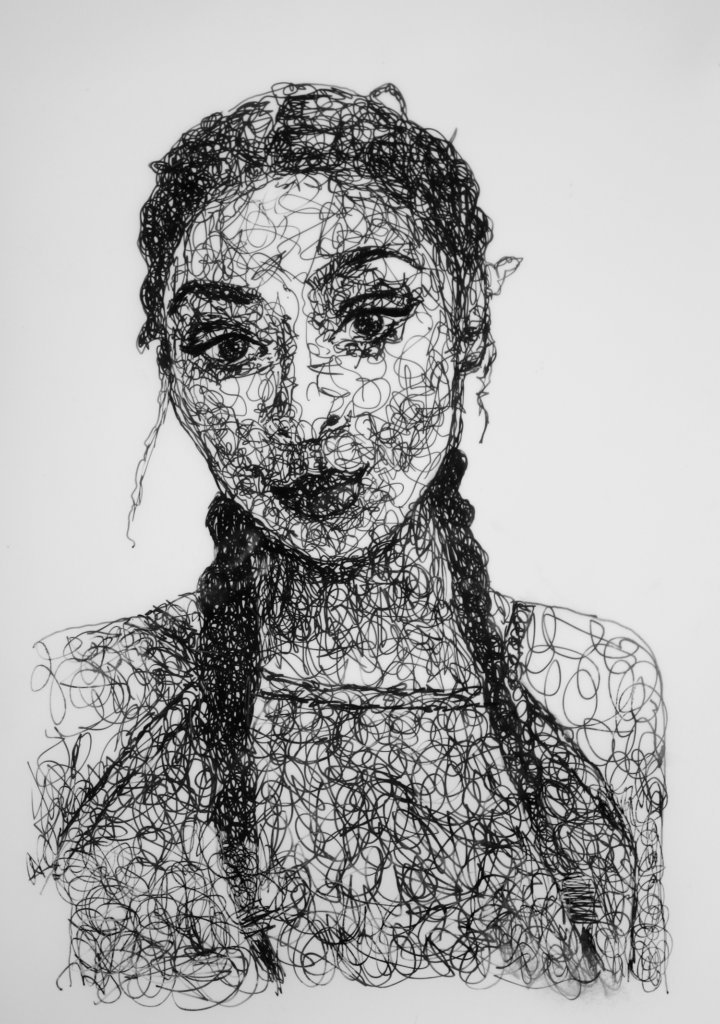 Sandrine Pelissier, scribble art portrait