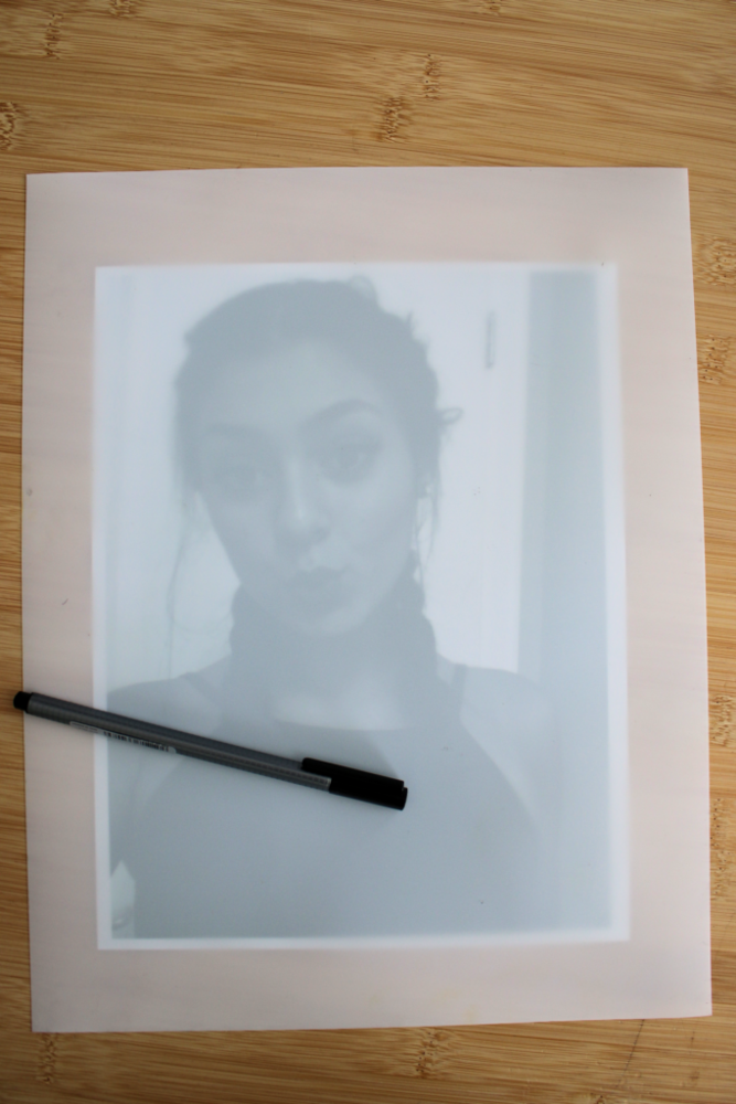 Scribble art Translucent Yupo paper will let you see your picture through the paper.