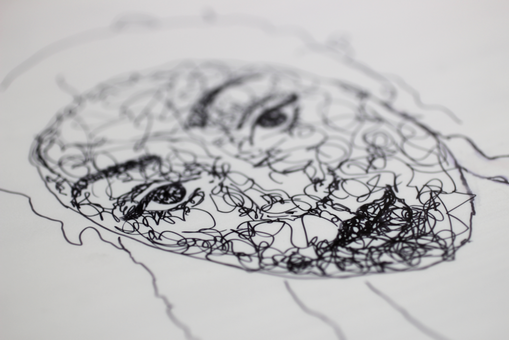 Scribble art Making progress on the face.