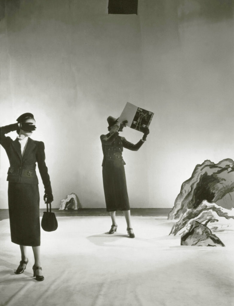 Designer Elsa Schiaperelli collaborated with Dalí in the creation of wool suits with large pockets inspired by bureau drawers. Cecil Beaton / Conde Nast via Getty Images