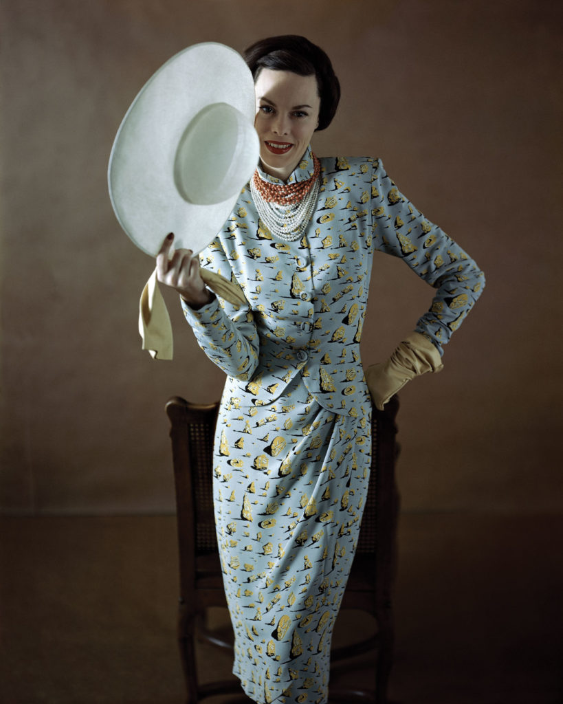 Depictions of rocks in desert paintings by Dalí inspired the pattern of this 1947 Vogue dress. Richard Rutledge / Conde Nast Via Getty Images