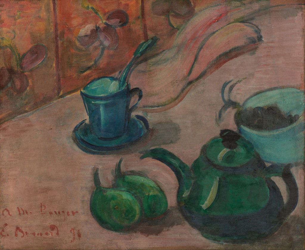 Still Life With Teapot, Cup and Fruit by Émile Bernard 1890; oil on canvas, 15⅓ x18½