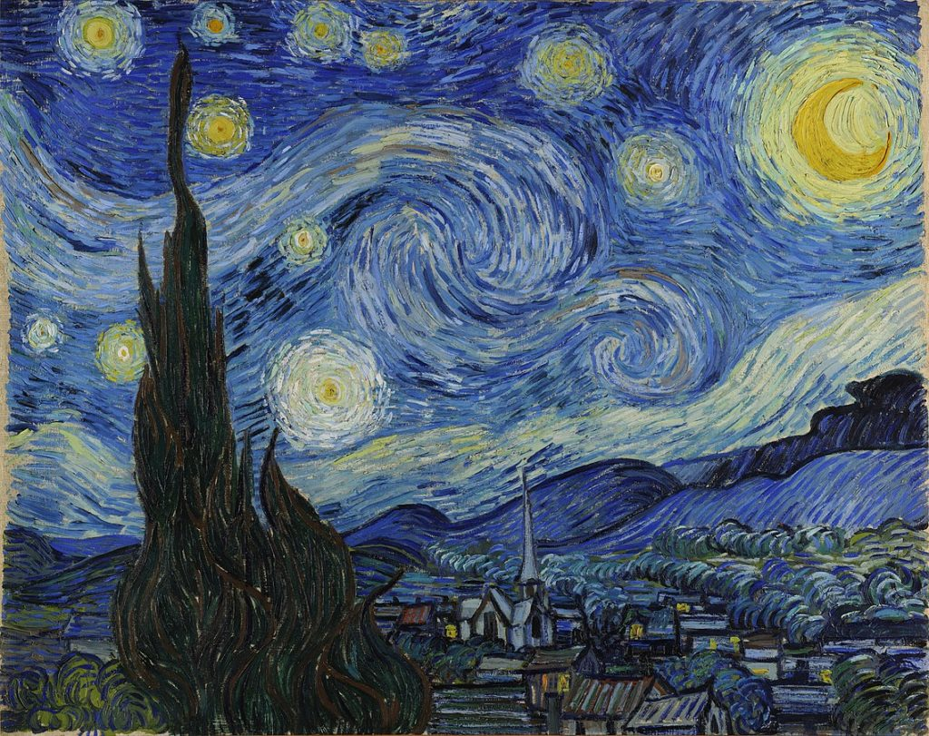 Starry Night by Vincent Van Gogh, oil painting made with prussian blue