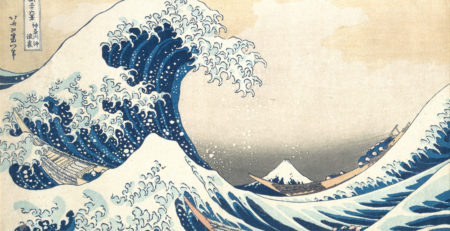 Prussian blue: Under the Wave off Kanagawa by Katsushika Hokusai, woodblock print