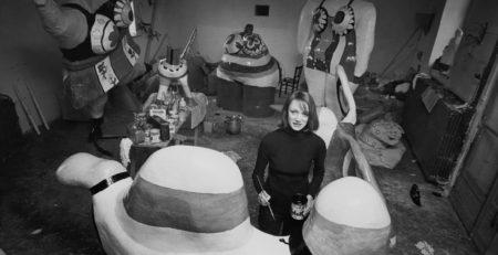 Niki de Saint Phalle at work on Nanas in her studio on the outskirts of Paris, in 1971