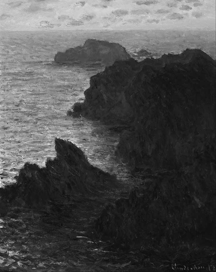 Above is Monet's painting in grayscale which demonstrates the bold organic value masses created by the rock formations.