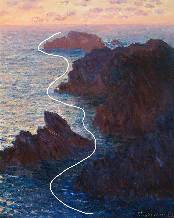 leading lines of claude monet painting