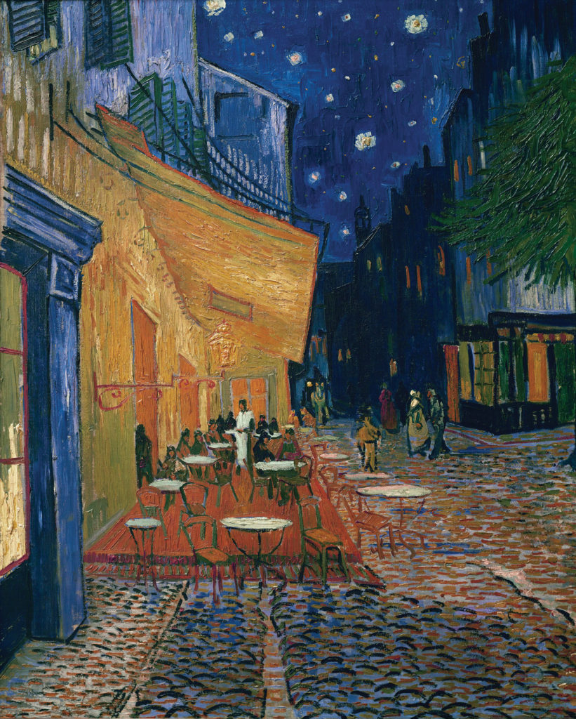 midnight blue Cafe Terrace at Night by Vincent van Gogh 1888; oil on canvas, 31⁴⁄5x25⁷⁄10