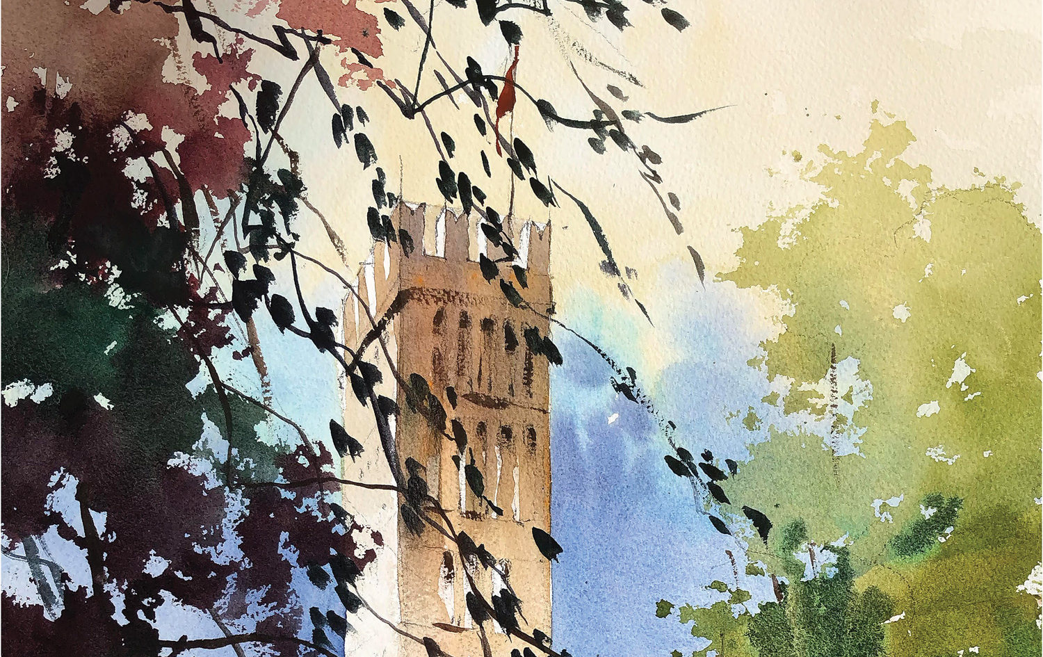 Cathedral of San Martino, Lucca, Italy by Thomas Schaller, watercolor on paper, 22x15
