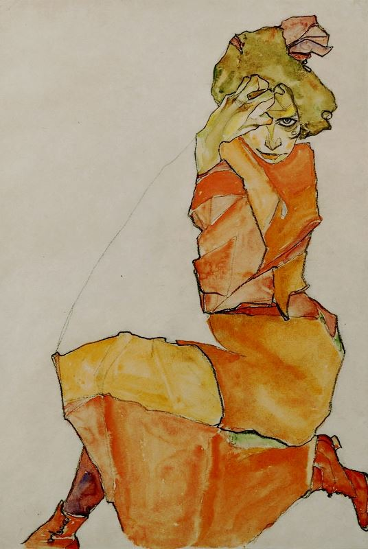 Kneeling Female in Orange Dress by Egon Schiele