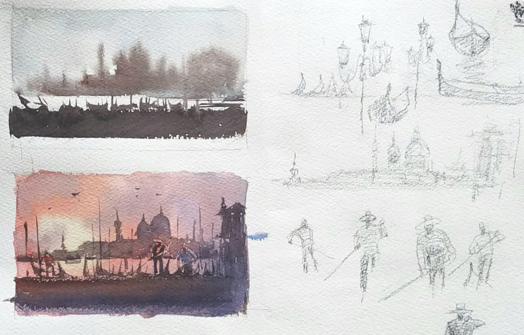 Preliminary drawings and painting sketches from Keiko Tanabe.