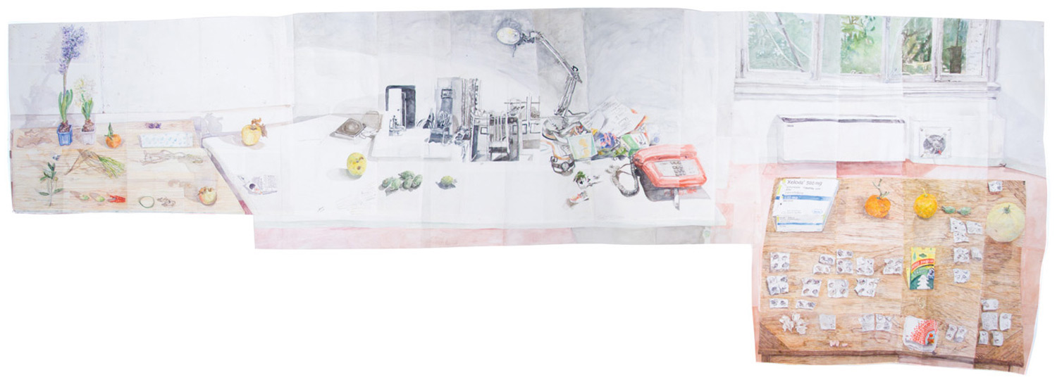 Three Tables in Rome by Dawn Clements (watercolor on paper, 85x248½)