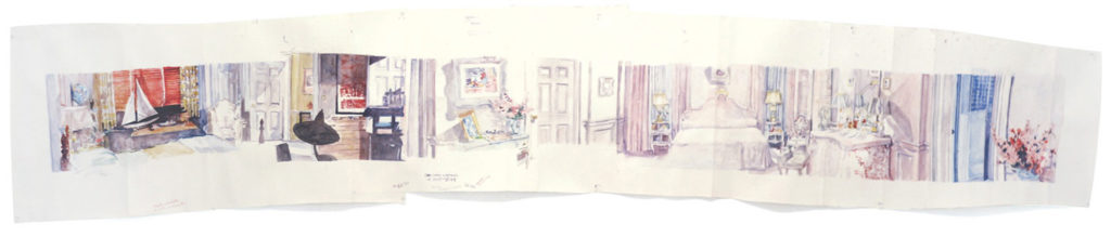 Upstairs at the McIver's (The Cobweb, 1955) by Dawn Clements (watercolor on paper, 23x128)