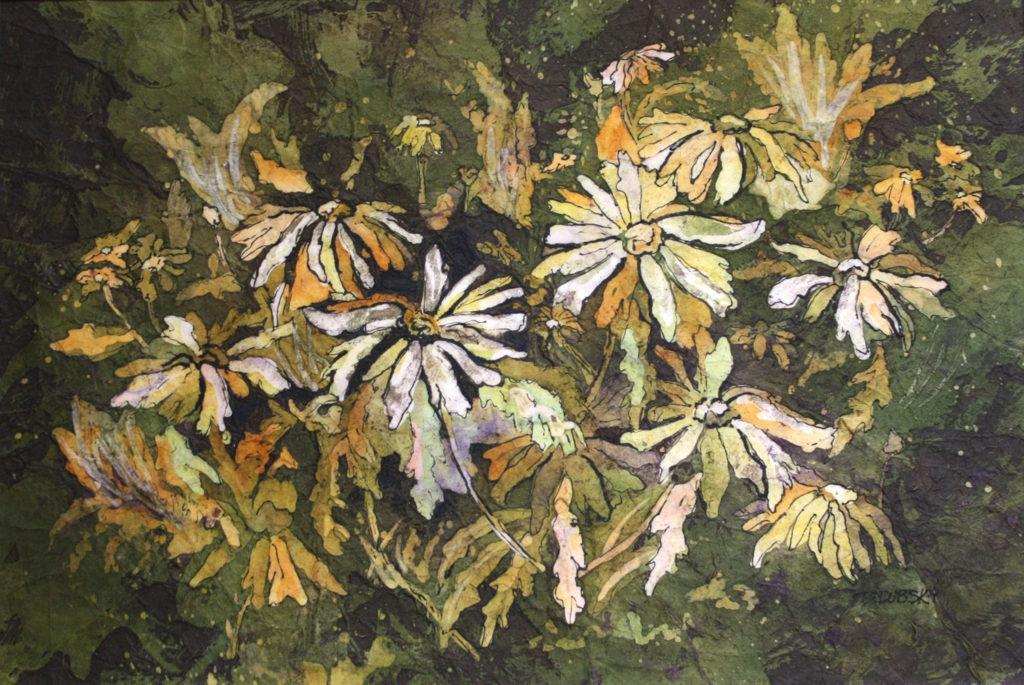 batik art Jewels in the Wilderness by Donna J. Dubsky, watercolor batik on ricepaper