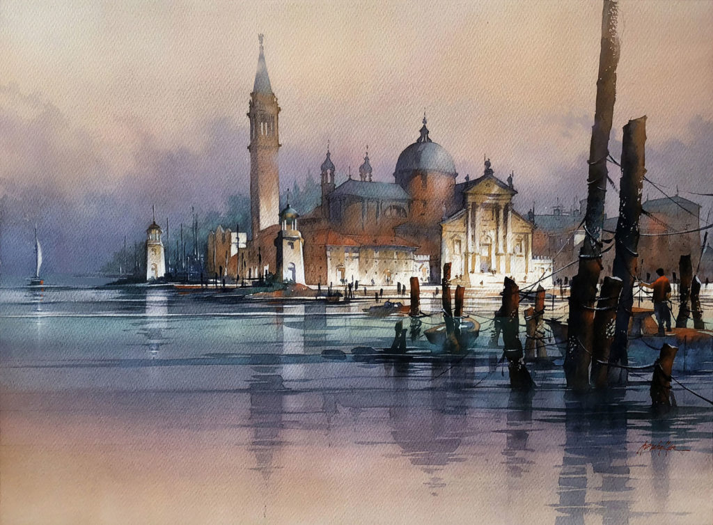 Nightfall--Venice by Thomas Schaller, watercolor