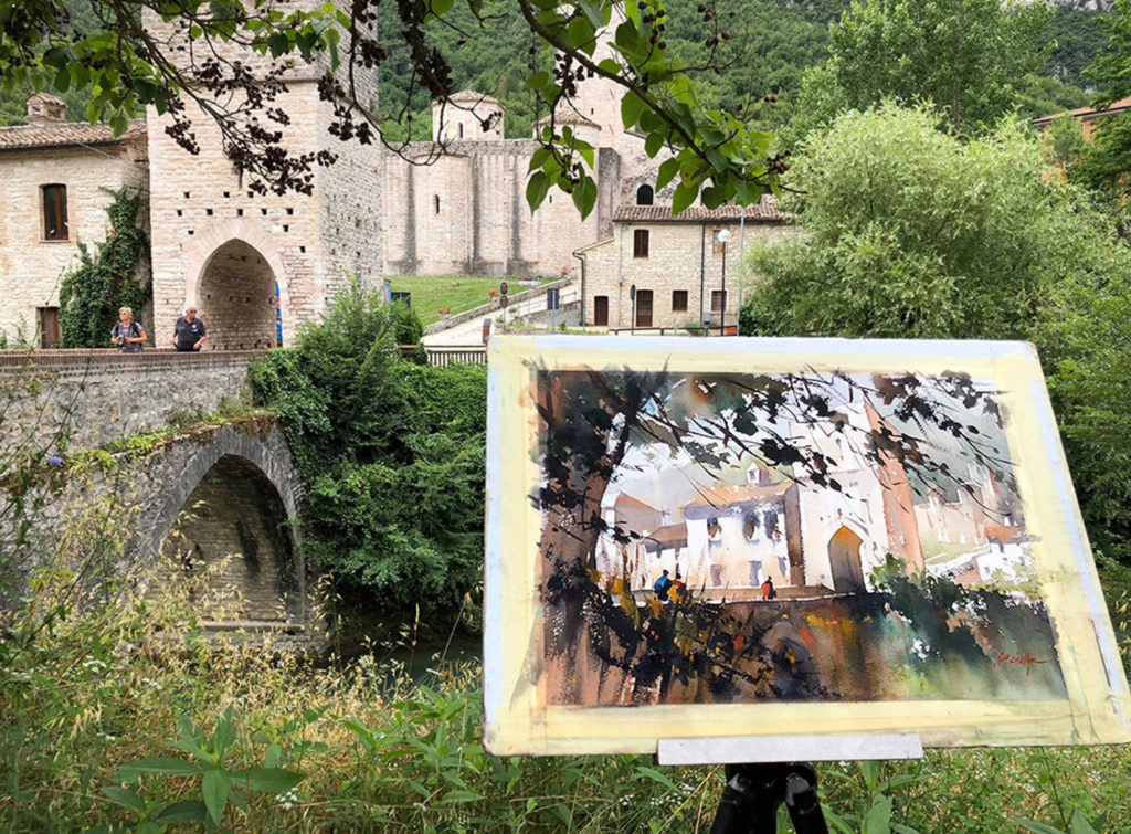 Thomas Schaller painting en plein air at San Vittore, Italy.