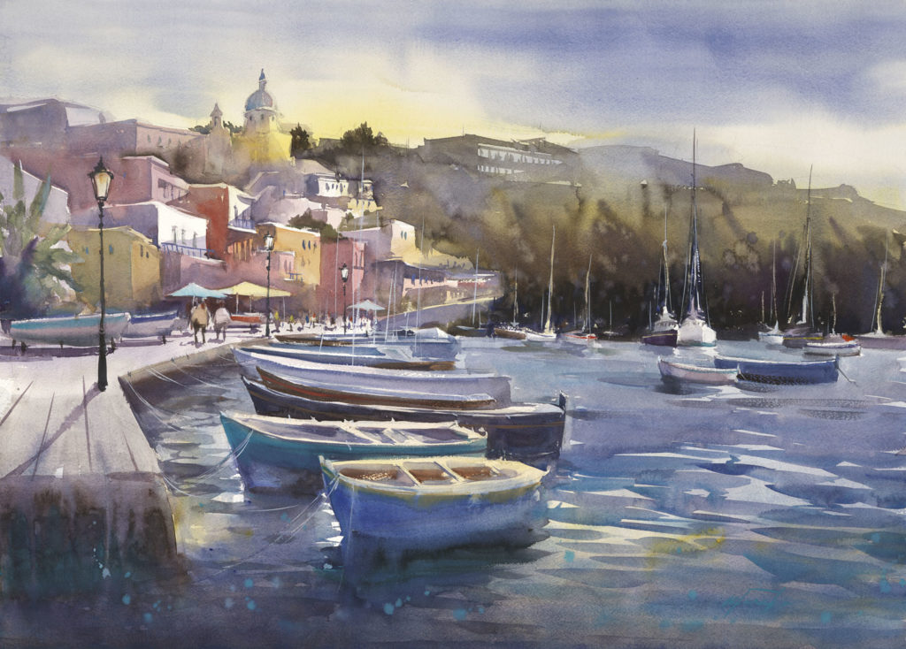 Procida Fisherman by Keiko Tanabe, watercolor