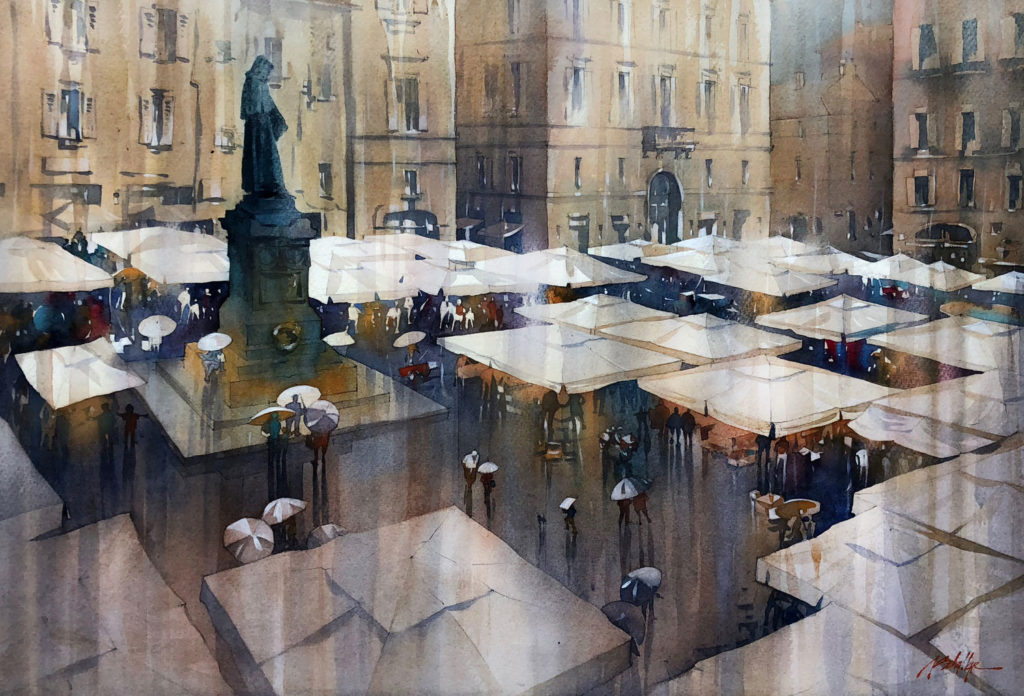 Rainy Day in the Campo by Thomas Schaller, watercolor