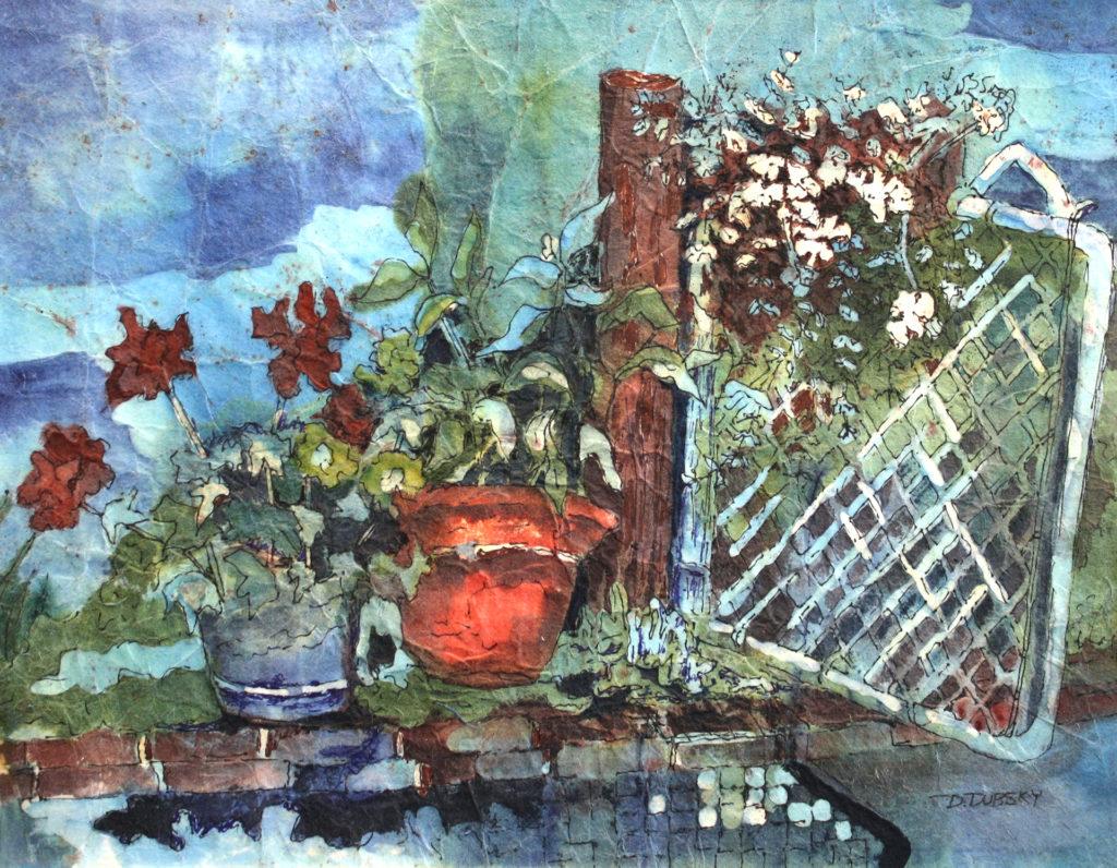 batik art The Garden Gate by Donna J. Dubsky, watercolor batik on rice paper