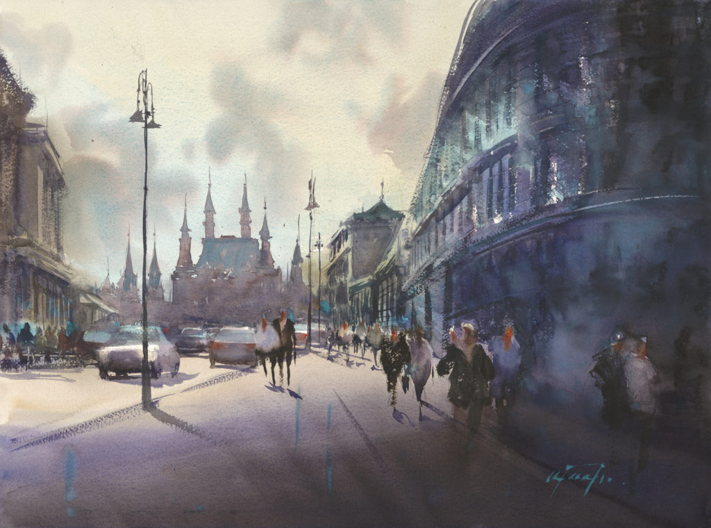 Turquoise Light (Moscow Russia) by Keiko Tanabe, watercolor