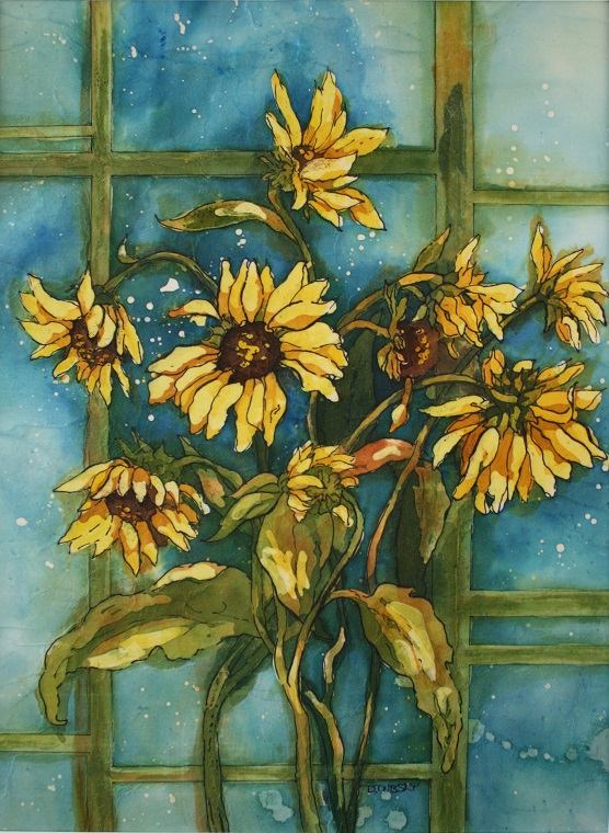 Sunshine by Donna J. Dubsky, watercolor batik on rice paper