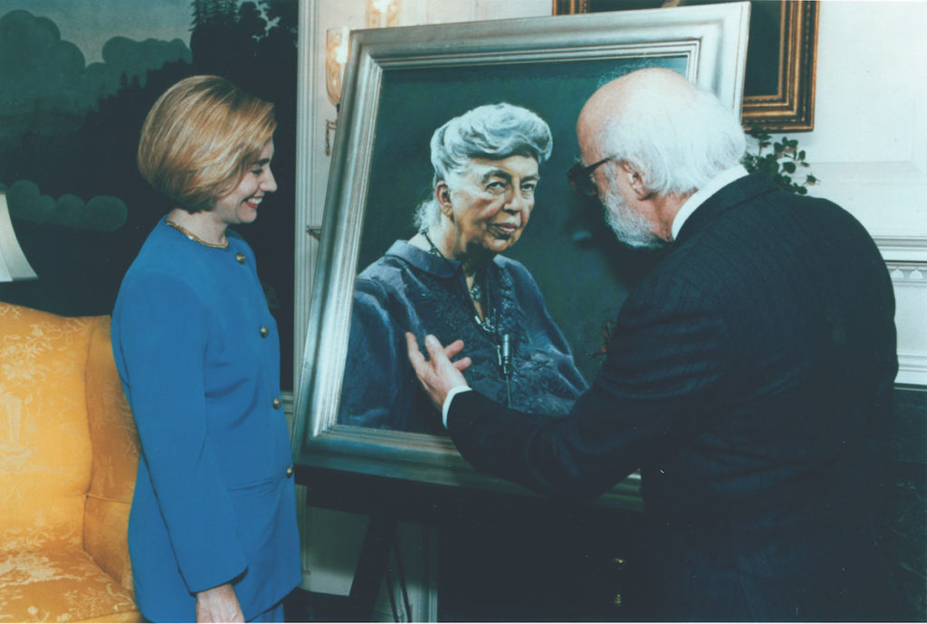 Daniel Greene presenting portrait of Eleanor Roosevelt to then First Lady Hillary Clinton on May 26, 1994, at the White House