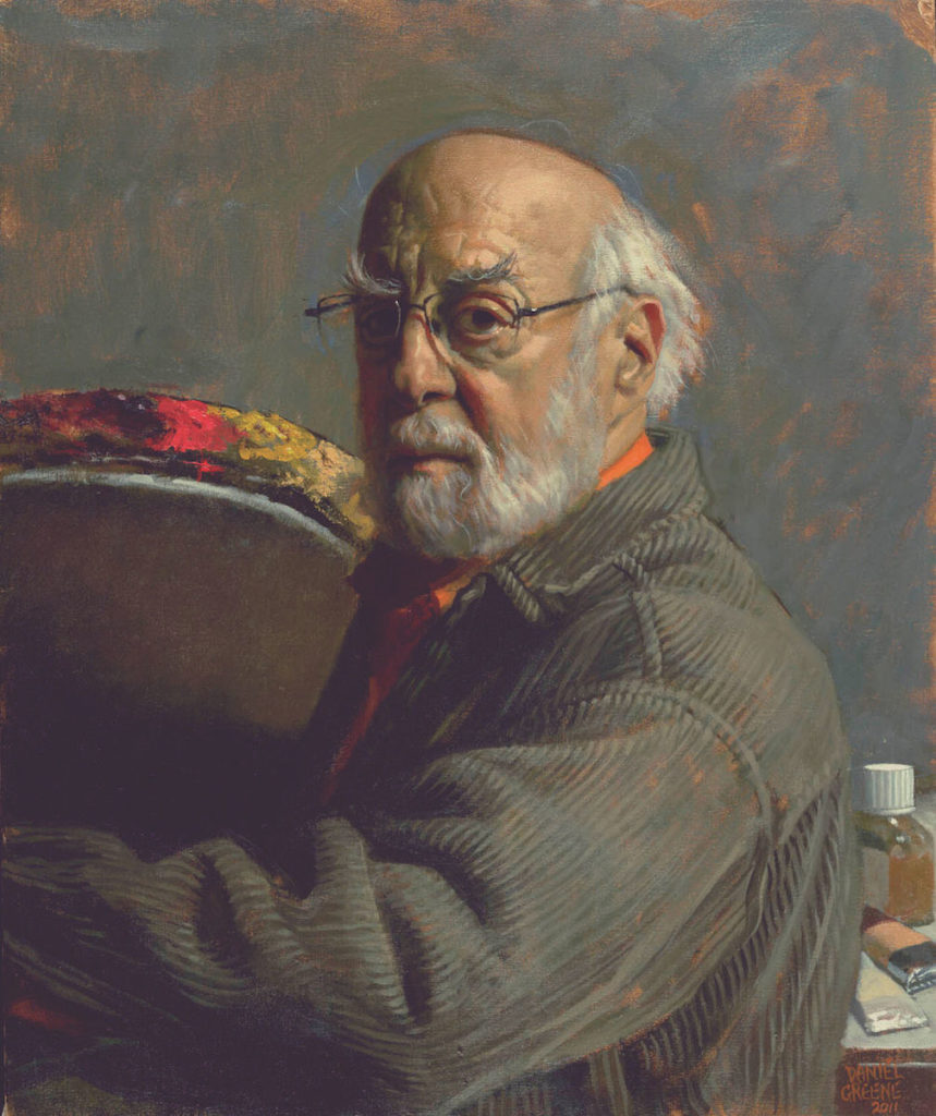 Self-Portrait with Palette by Daniel Greene | Oil Painting | Portraiture | Portraits | Artists Network